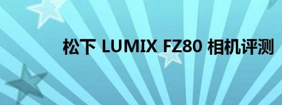 松下 LUMIX FZ80 相机评测